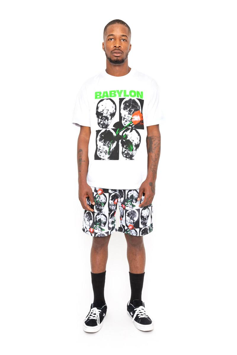 BABYLON LA Spring Summer 2019 Collection lookbook graphic pieces black and white skulls x rays roses peace sign west coast pants tees long sleeves acid wash long sleeves