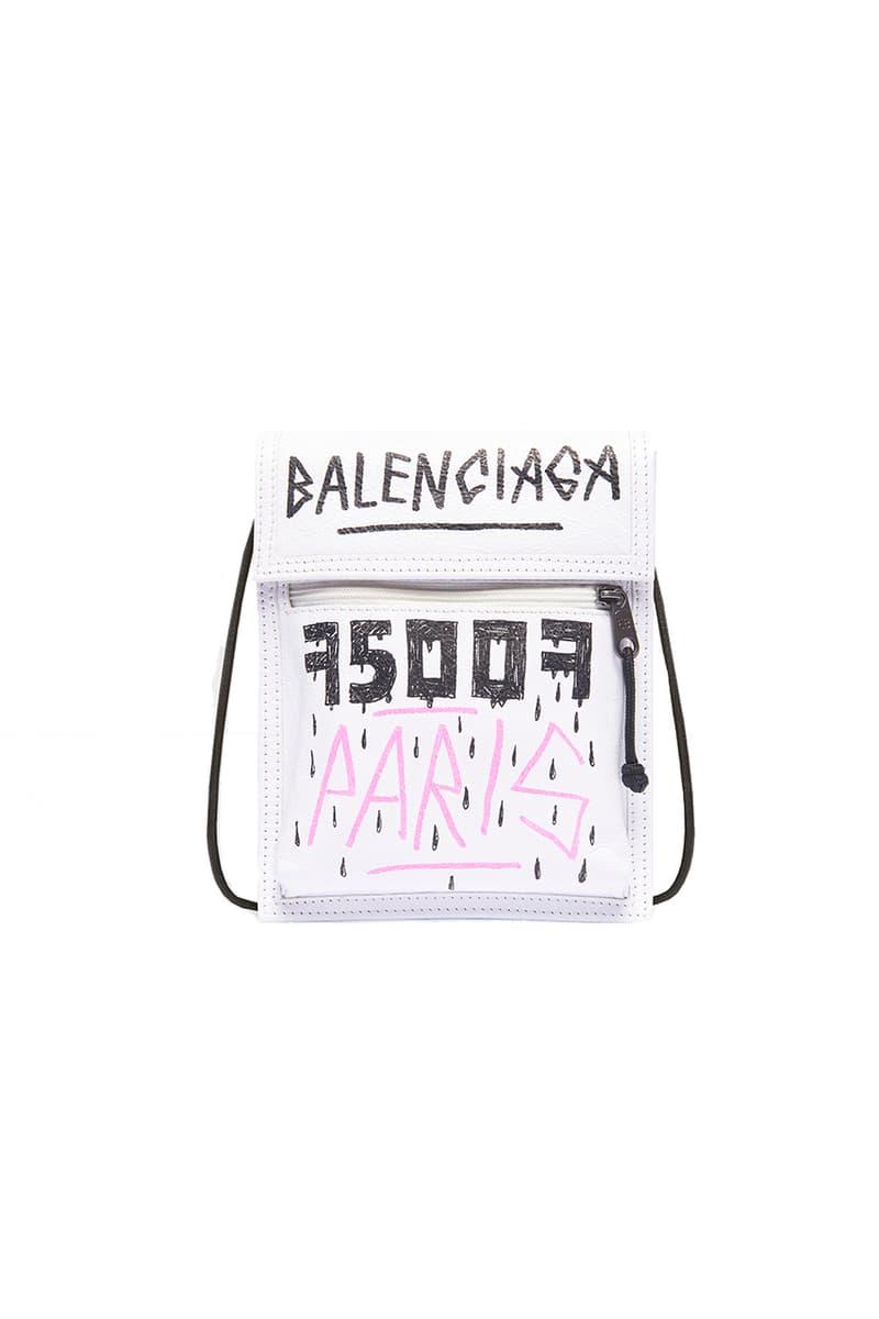 Balenciaga Explorer Pouch Leather Neck Bag Strap Graffiti All Over Print Red Black Branding Embossed Semi Shiny Palladium Hardware Arena Lambskin Made in Italy