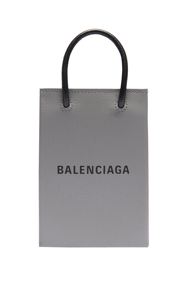 Balenciaga Phone Holder Bag Smartphone iPhone Carrying Case Grey Black White Branding Embossed Logo Pouch Strap Calfskin Handles Magnetic Closure
