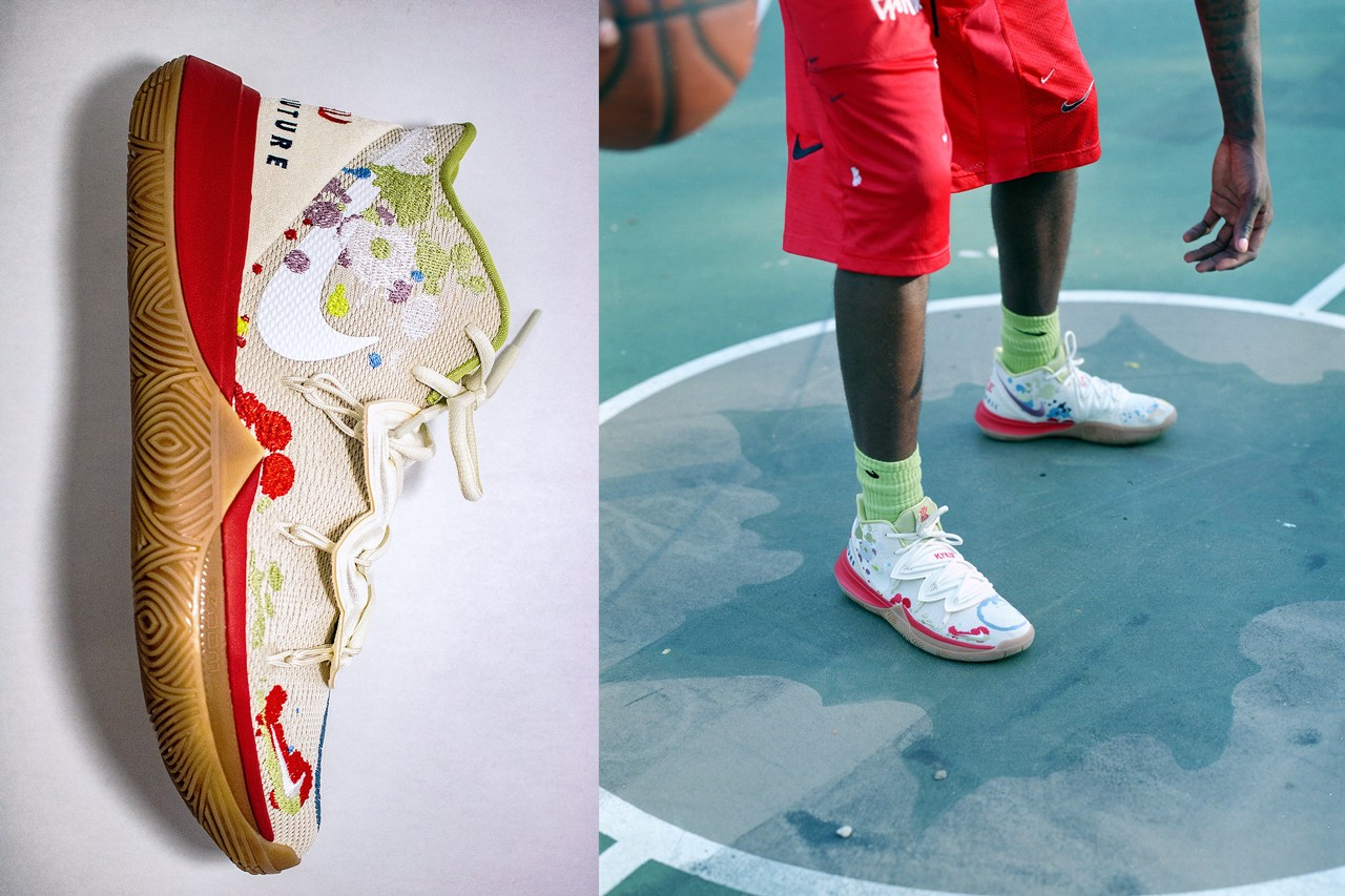 Bandulu Street Couture Nike Kyrie Irving 5 PE Light Ivory Dark Orchid Pat Peltier Artist Paint Splatter Drip Neoprene cushion basketball dripping ring splash