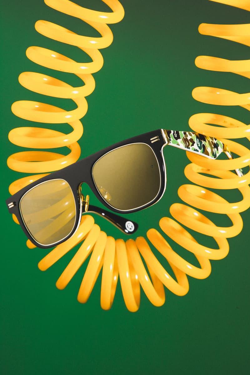 BAPE x RETROSUPERFUTURE 2019 Sunglasses Capsule shades 1st camo ape heads sunnies SUPER by RETROSUPERFUTURE Flat Top  Drew Mama black acetate green gold details