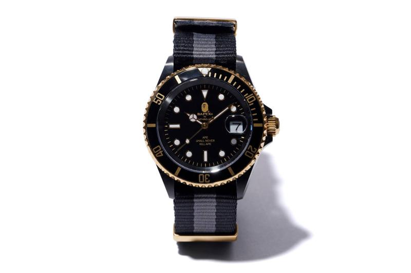 BAPE Type 1 BAPEX With NATO Straps Release a bathing ape timepieces watches accessories black and gold ape head