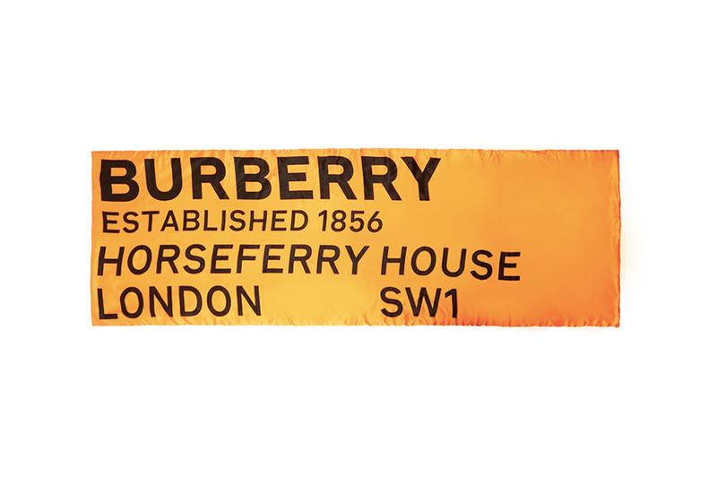 Burberry Logo Print Silk Puffer Scarf Orange Riccardo Tisci satin established 1856 london SW1 HORSEFERRY HOUSE hidden seams sheen shiny sans serif font
