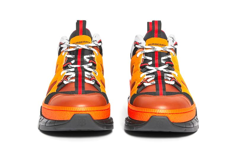 Burberry Union Sneakers Orange runway Nylon Nubuck burnished leather patina made in italy riccardo tisci British shoes footwear orange TB monogram traction progressive hi tech