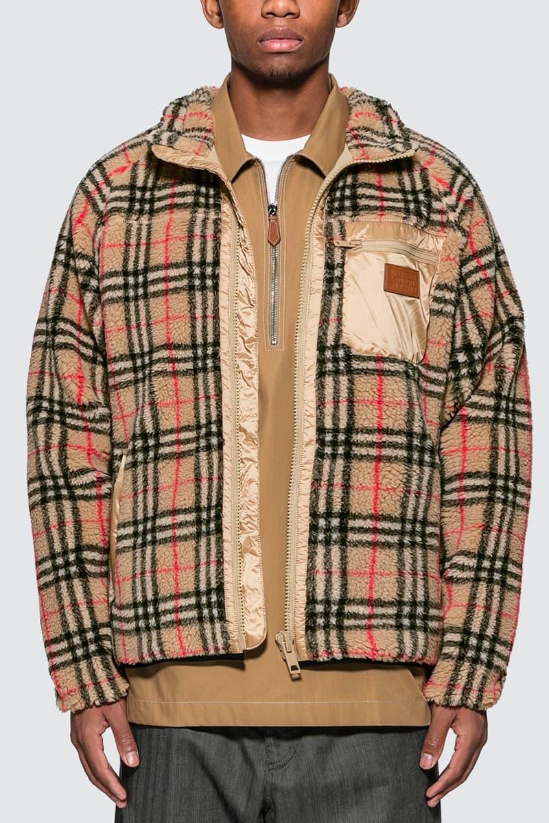 Burberry Vintage Check Faux Shearling Ensemble jacket men drawstring shorts hbx hypebeast store archive beige