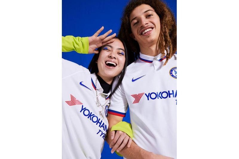 Chelsea 2019/20 Away Kits nike white mod 1960s white polo jersey collar top red blue Stamford Bridge frank lampard