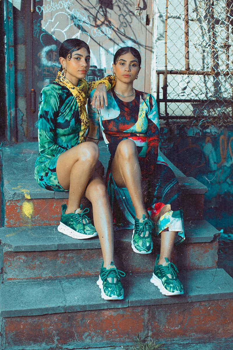 Concepts x Versace Chain Reaction Collaborative Sneaker 2000 Grammy Awards Jennifer Lopez Silk Chiffon Jungle-themed Dress Inspiration Collaboration Lookbook Drop Date Information Release Chunky Shoe High End Italian Fashion House Boston New York