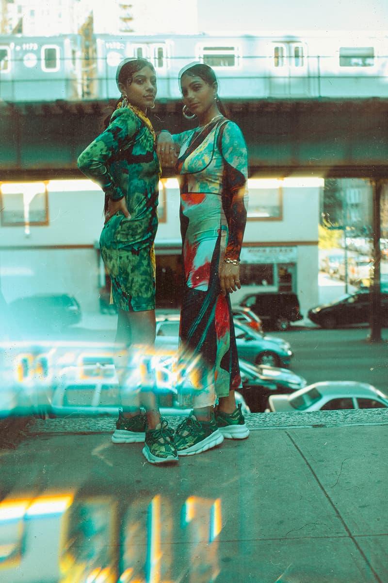 Concepts x Versace Chain Reaction Collaborative Sneaker 2000 Grammy Awards Jennifer Lopez Silk Chiffon Jungle-themed Dress Inspiration Collaboration Lookbook Drop Date Information Release Chunky Shoe High End Italian Fashion House Boston New York