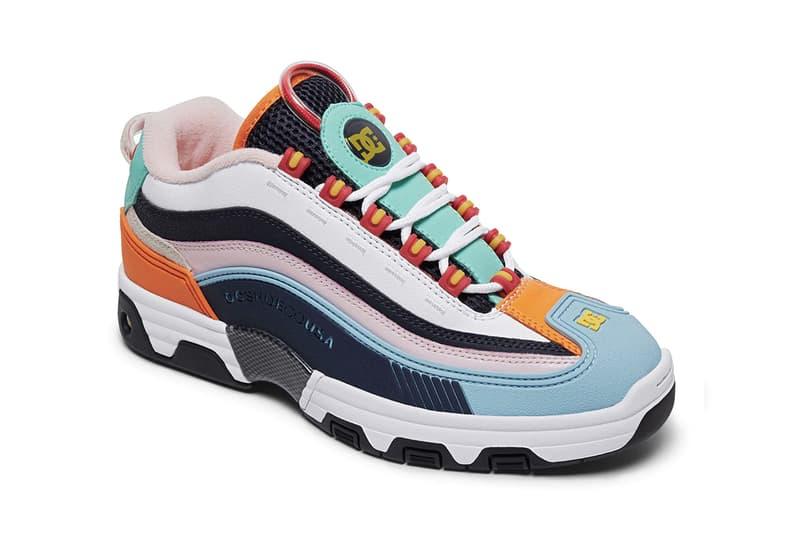 DC Shoes Legacy OG Lynx OG Multi Pack skateboarding skate shoes pastel color bright summer carbon fiber midsole embossed suede pink blue light grey black navy orange yellow teal