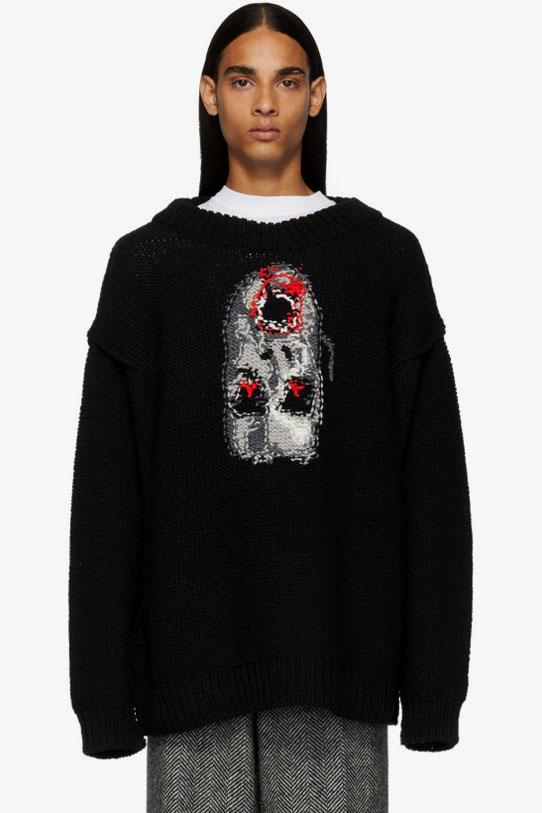 Doublet Hand Knit Inside Out Jacquard Sweater Face Black Red Gray
