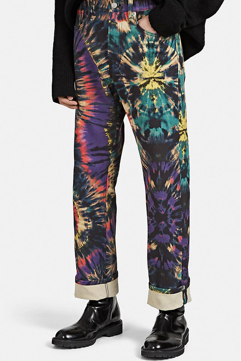 Dries Van Noten Tie-Dyed Pattern Denim Jeans Straight Cut Fall/Winter 2019 Collection Antwerp Six Black Multicolored Shop Release First Look Online Cop