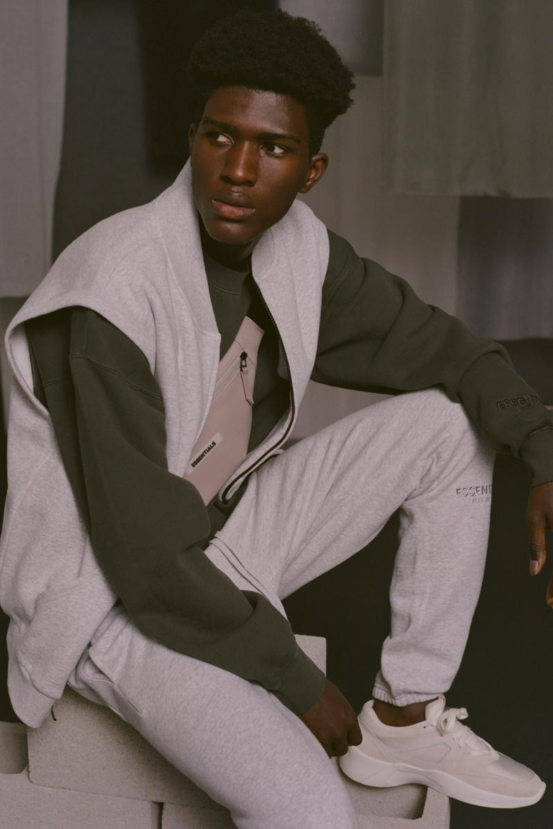 Fear of God Essentials Fall 2019 Lookbook Jackets Pants Tees Fanny Packs Shorts Sweatpants Sweatshirts Yellow Black Pink Gray White Brown Accessories vintage backless runner retail july september