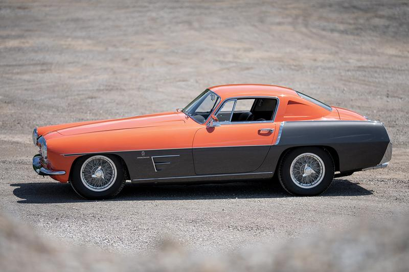 1955 Ferrari 375 MM Coupe Speciale by Ghia RM Sotheby's Auction House Custom Built Salmon Bodywork Vintage Sportscar Italian four-speed synchronised gearbox collectors item
