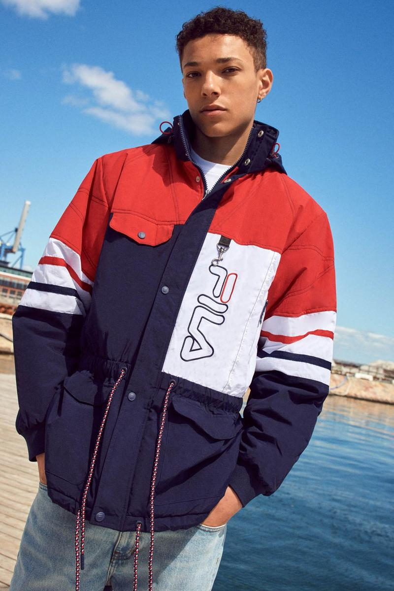 FILA Debuts Exclusive FW19 Heritage Collection  red blue track suits pants jaket drawstring stripe sandal puffer orange trek shoes jeans green red bucket hat jersey track pants italy stripe black bag caryall
