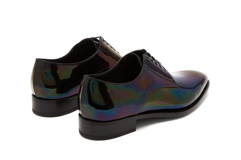 Givenchy Iridescent Leather Derby Shoes Hues Throatline Vamp Quarter eyelets debossed heel tonal glossy shiny vamp raised heel