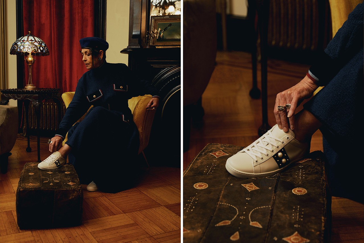 GUCCI Pre-Fall 2019 Ace Sneaker Lookbook Italian sneaker red green alessandro michele fashion brooklyn brownstone Fulton Park and the Akwaaba Mansion
