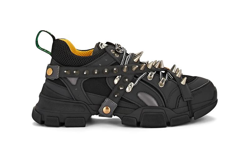 Gucci Flashtrek Spiked Canvas Sneakers Black leather mesh yellow green monogram gold trim straps chunky footwear midsole heel tab raised punk