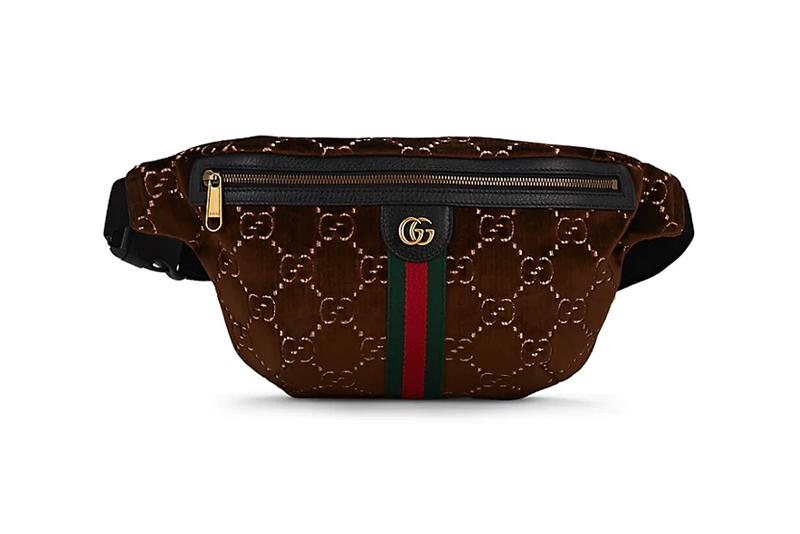 2aba05eb1 gucci gg monogram pattern logo velvet belt bag brown over the shoulder  waistpouch pouch