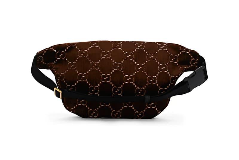 gucci gg monogram pattern logo velvet belt bag brown over the shoulder waistpouch pouch