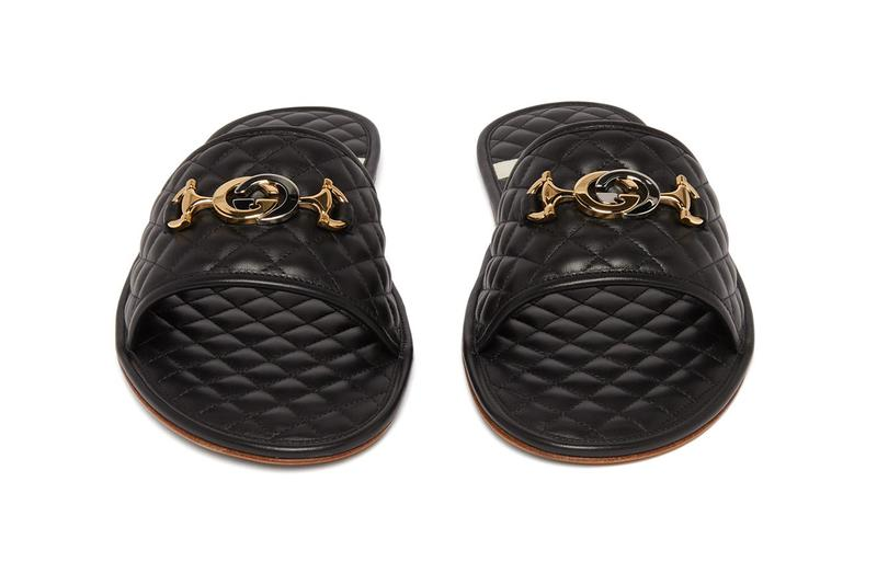 Gucci GG-plaque quilted leather slippers black gold horsebit Italy Alessandro Michele Menswear Summer Slides High End Designer Silver Gold Tones Emblem Tan Rubber Sole