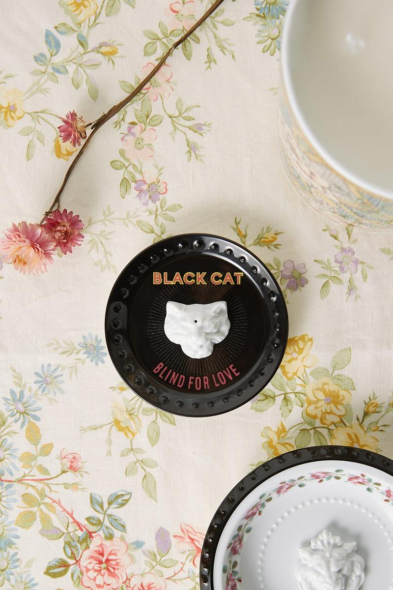 Gucci Incense Holder Richard Ginori Porcelain Chamber Black Cat Blind For Love Alessandro Michele Cat Head Hole Round Dish Black White Living Room Decor Design Bedroom Luxury Interior Gifts