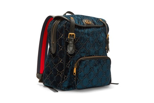 Gucci Crafts a Monogram-Heavy Velvet Backpack With Gold Highlights