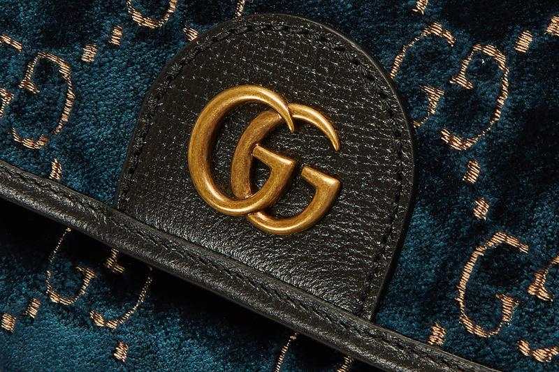 Gucci Monogram Blue Velvet Backpack Release bags leather gold hardware ln cc italian luxury italy