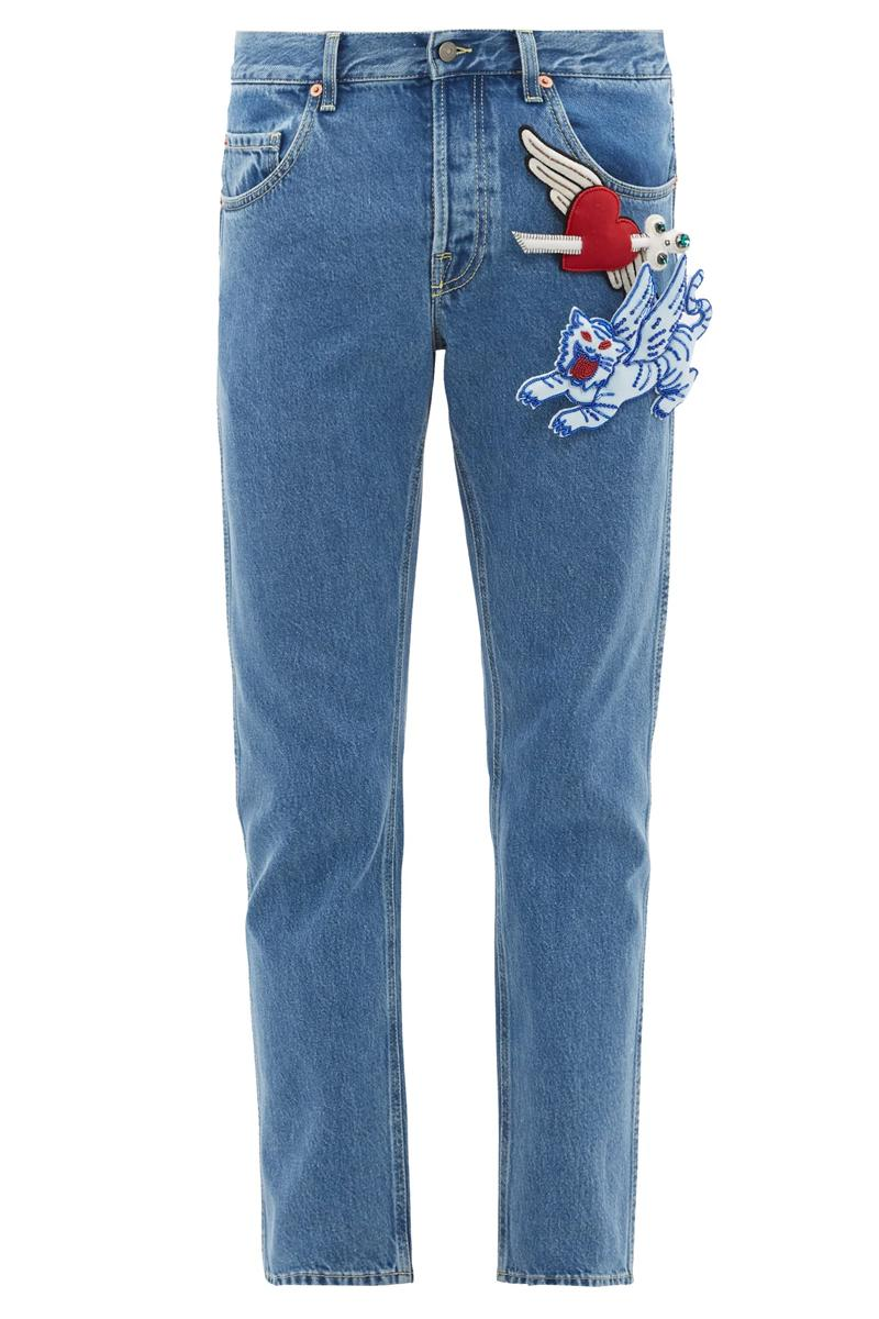 Gucci Padded-Appliqué Tapered Jeans Release Blue heart Lion Cupid arrow padded