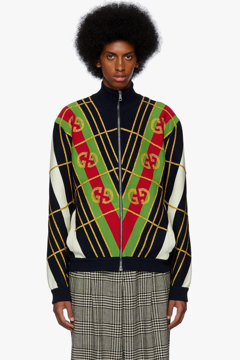 Gucci Black GG Star Sweater Navy & White Jacquard Zip-Up Sweater Long Sleeve Knit Rib Mock Neck Jacquard GG Logos Alessandro Michele Fall Winter 2019 FW19