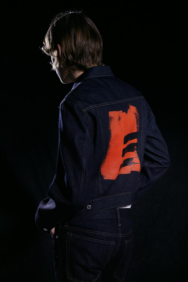 Helmut Lang Josephine Meckseper artist Capsule Collection Jeans three striped trucker Jacket 1997 Tee Paint Orange White
