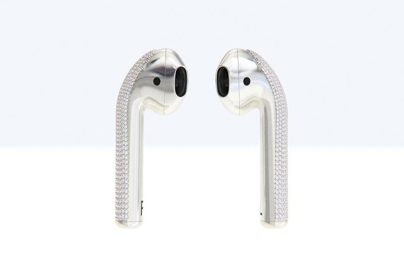 Ian DeLucca Diamond encrusted AirPods White Gold Marble Sculpture New Materialism 20000 usd
