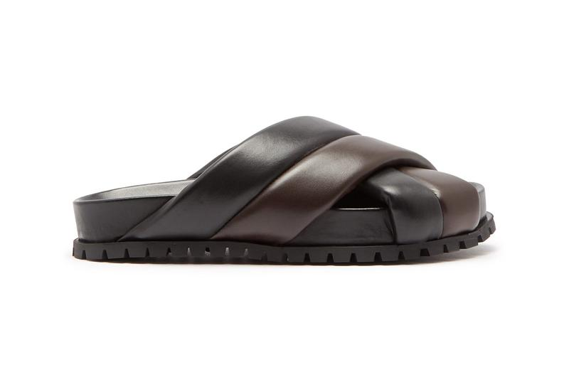 jil sander plait effect black brown leather sandals colorblocked bicolor release