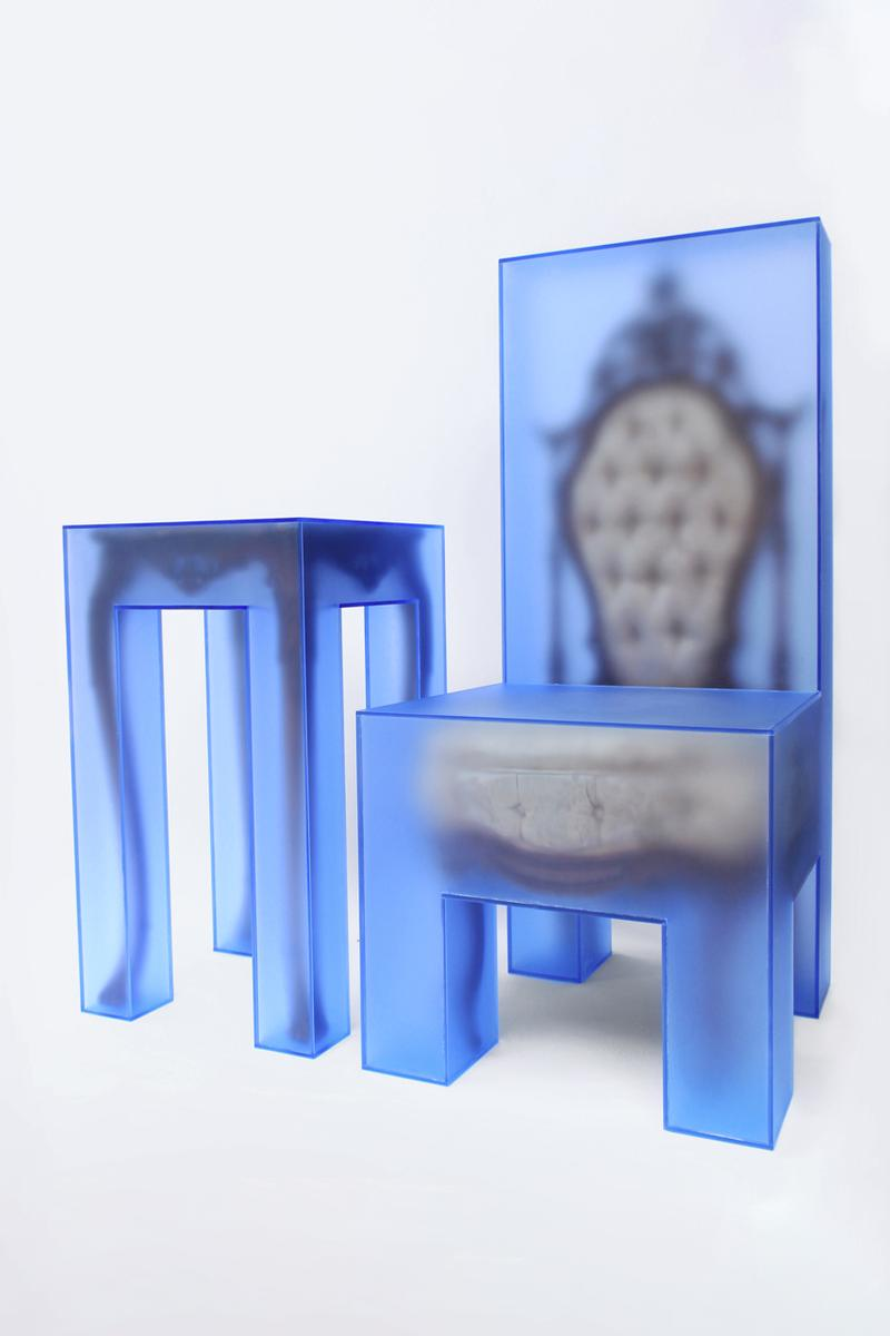 3.Paradis Joyce Lin Emeric Tchatchoua For Now We See Through a Glass Darkly Sabine Street Studios Houston Chairs Tables Lamps Mirrors Blue Furniture