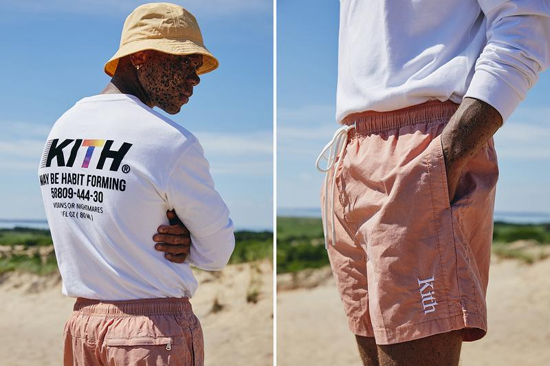 "KITH ""Oasis"" Capsule Campaign Imagery Lookbook Shots ASICS GEL-KAYANO 5 OG Sneaker Release Closer Look Clothing Apparel Drop Mini Logo T-Shirt Habit Tee Convertible Swim Shorts Serif Bucket Hat Ronnie Fieg"