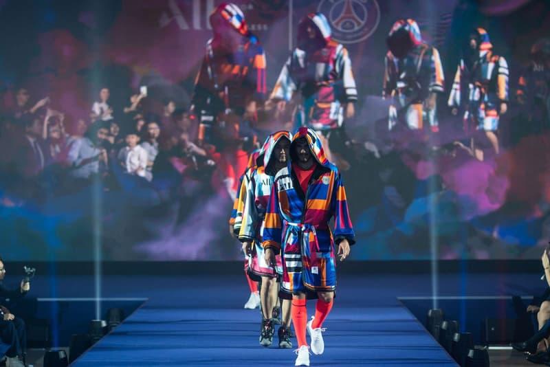 KOCHÉ Reimagines PSG's Football Kit Into a Colorful Boxer's Robe football soccer paris saint-germain dress kylian mbappe