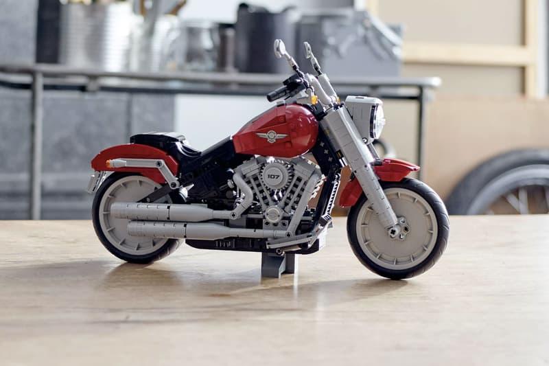 LEGO creator Immortalizes Harley-Davidson's Fat Boy lego creator building blocks motorcycles red black bricks