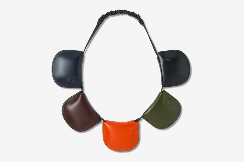 LOEWE Multipocket Headband Release blue brown orange green black leather