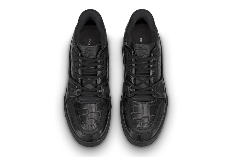 Louis Vuitton LV Trainer Black tonal alligator skin monogram alligator skin calf leather glossy debossed embossed 54 virgil abloh artistic director vintage basketball shoes