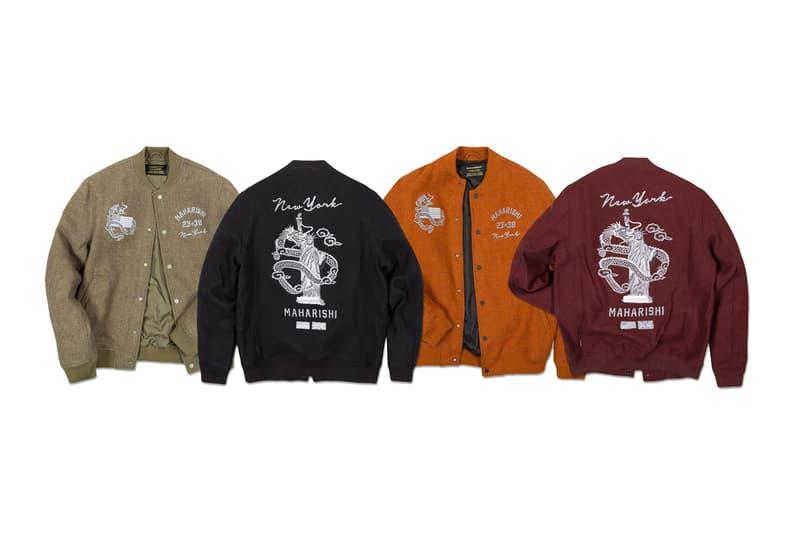 maharishi NYC Tour Capsule Collection Jackets Long Sleeves Crew Necks Wool Dragon Lady Liberty Black Orange Maroon Brown Gray White