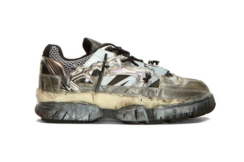 Maison Margiela's Chaotic Fusion Sneakers Get Doused in Black & Silver