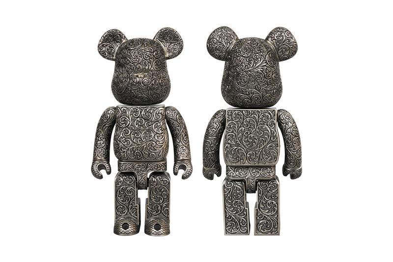 Medicom Toy Royal Selangor BE@RBRICK Release Info arabesque black release info silver metalwork embroidery flower design toy collectible figurine  drop date collaboration pewter metal alloy