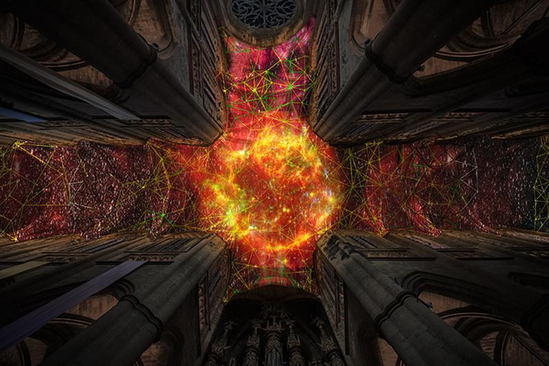 miguel chevalier supernova virtual reality digital installation notre dame cathedral paris france
