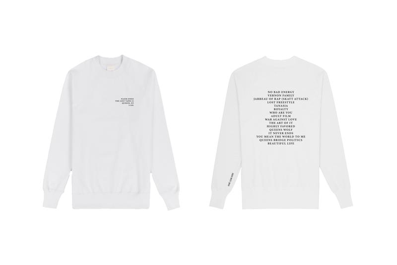 Nas x Aimé Leon Dore The Lost Tapes II Merch Capsule collaboration new york queens streetwear tracklist crewneck sweat t-shirt blunt ash tray candle queens wolf hooded sweatshirt hoodie longsleeve
