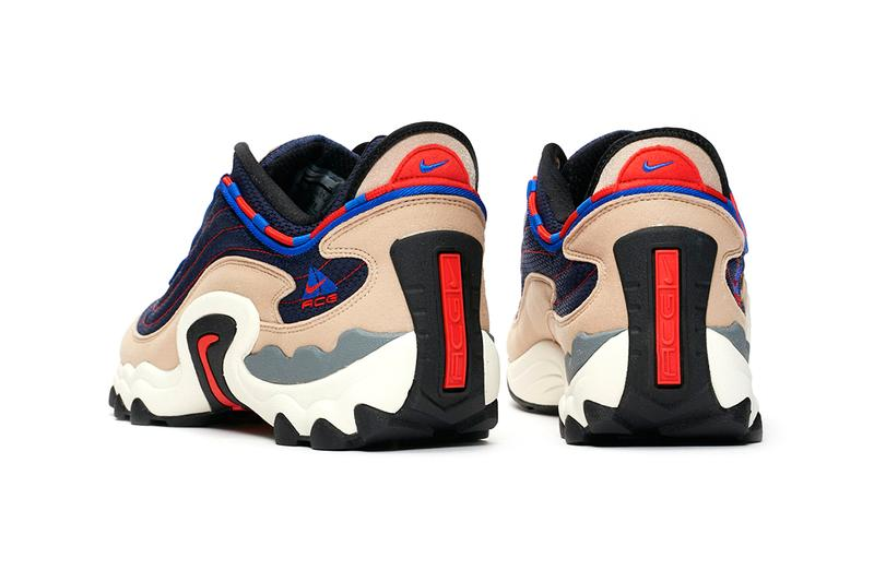 nike acg air skarn sneaker silhouette first look release details info red navy racer blue sand brown air max 97 sneakersnstuff buy cop purchase order