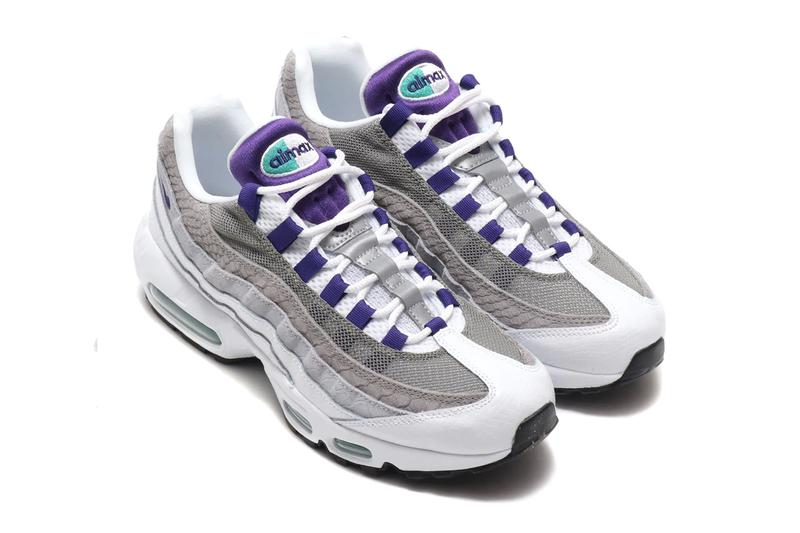 Nike Air Max 95 LV8 White Court Purple snakeskin mesh neoprene air unit bubbles teal retro leather gloss swoosh check laces  ao2450-101