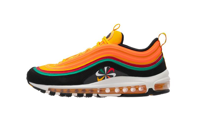 """Nike """"Evolution of The Swoosh"""" sunburst script chain Packs Foot Locker release info collection buy air force one plus tn react element 55 colorways"""