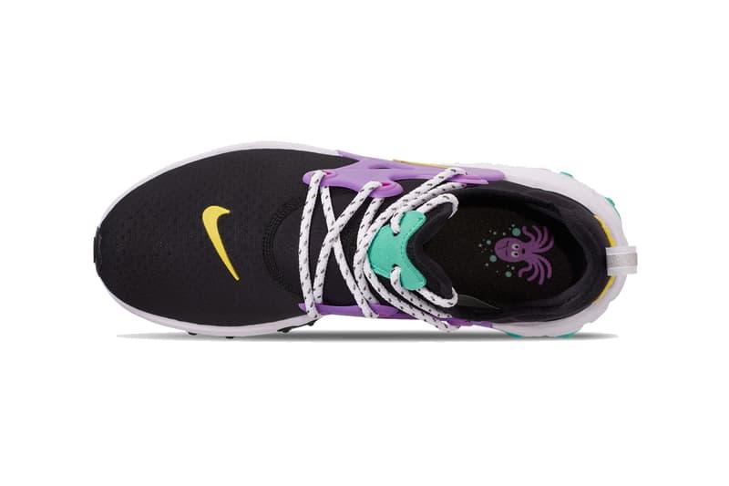 nike react presto black dynamic yellow aurora green purple colorway release sneakers finishline octopus