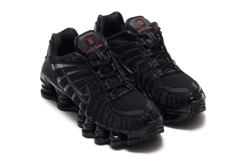 Nike Shox TL Triple Black Colorway original 2003 midsole silhouette red Z logo highlights spring cushion shock absorption runner atmos ar3566-002