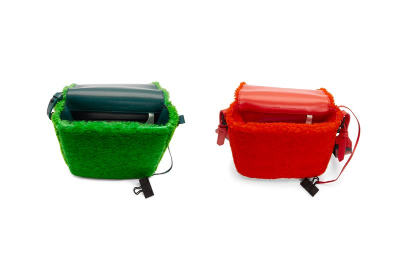 Off-White Sherpa Fleece Binder Clip Bag Release Red Green Virgil Abloh
