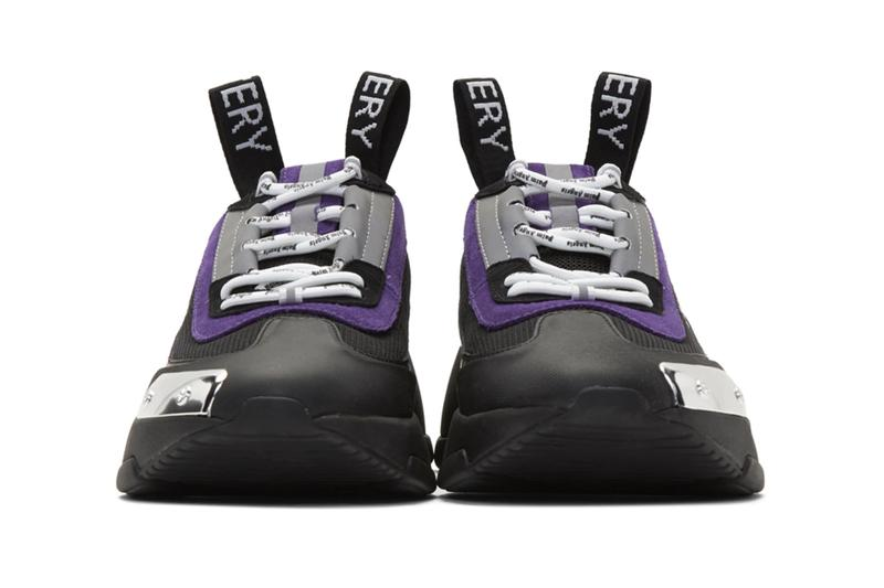 Palm Angels Recovery Lace Up Sneakers Black Purple chunky midsole rubber plating velcro straps pull tab lace cage suede articulated curved heel trim gloss
